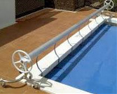 roll up station on pool with cover